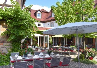 Blick in den Innenhof Landhotel Hauer mit gedecktem Tisch und Sonneschirm